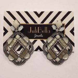 Jewelry - Fashion Statement Earrings Silver White